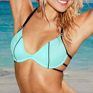 Blue Black Strappy Bathing Suit Bikini Top